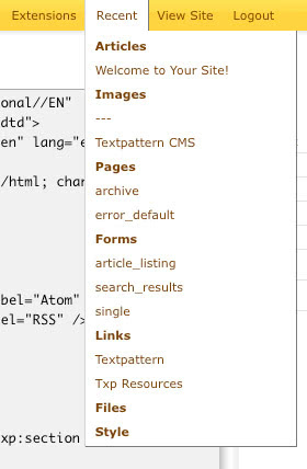 Textpattern's adi_recent_tab plugin in action