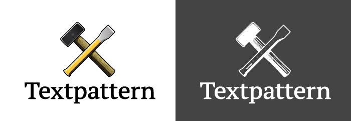Textpattern logo vertically oriented.