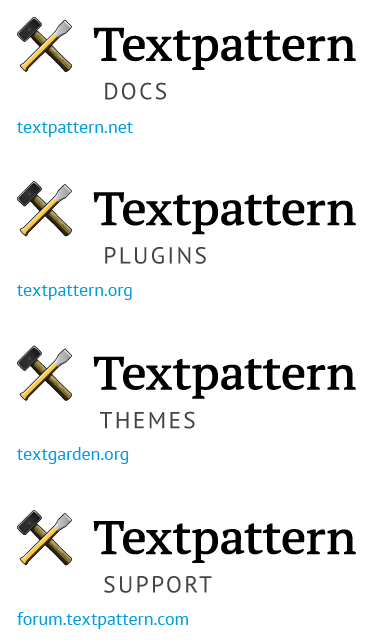 The new logos for Textpattern's various resource sites.