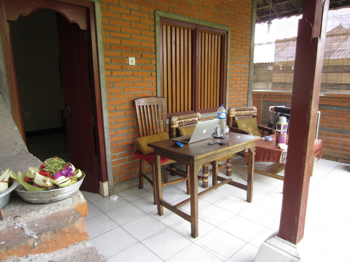 desk on patio